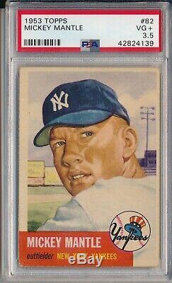 1953 Topps #82 Mickey Mantle Psa 3.5 Vg+ (svsc)