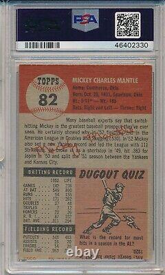 1953 Topps #82 Mickey Mantle Psa 4 Vg-ex (svsc) Centered