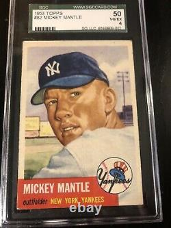 1953 Topps #82 Mickey Mantle SGC 50 PSA 4 Well Centered and Very Nice