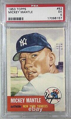 1953 Topps #82 Mickey Mantle SP PSA 5 EX