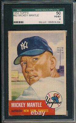1953 Topps #82 Mickey Mantle Sgc 50 Vg/ex 4 (svsc) Centered
