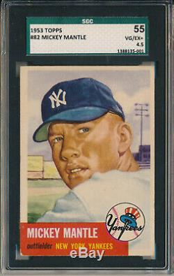 1953 Topps #82 Mickey Mantle Sgc 55 Vg/ex+ 4.5 (svsc)