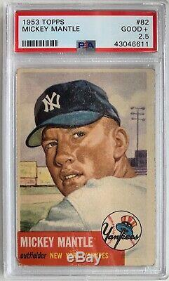 1953 Topps 82 Mickey Mantle Yankees PSA 2.5
