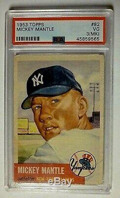 1953 Topps #82 Mickey Mantle Yankees PSA 3 VG