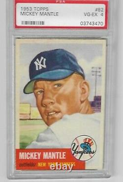 1953 Topps #82 Mickey Mantle Yankees PSA 4 VG/EX