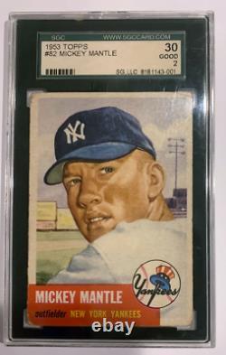 1953 Topps Baseball #82 Mickey Mantle Card New York Yankees Graded SGC 30