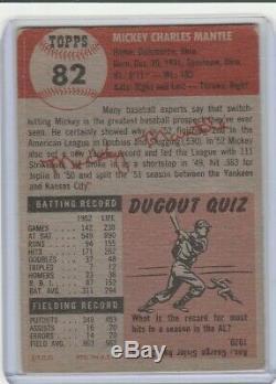 1953 Topps Baseball #82 Mickey Mantle, New York Yankees, Hof, 011620