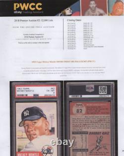 1953 Topps Baseball Card #82 Mickey Mantle New York Yankees Graded Psa 6 Ex-mt