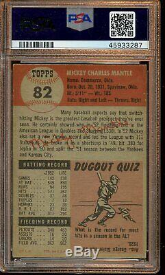 1953 Topps Baseball Card #82 Mickey Mantle New York Yankees PSA 4 VGEX