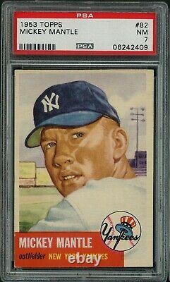 1953 Topps Baseball HOF N. Y. Yankees Mickey Mantle Card # 82 PSA 7 NM NEAR MINT