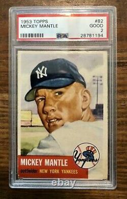 1953 Topps Mickey Mantle #82 Baseball Card PSA 2 WELL CENTERED UNDERGRADED