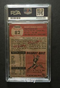 1953 Topps Mickey Mantle #82 Dead Centered Great Eye Appeal Psa 1 Looks Better