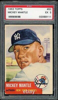 1953 Topps Mickey Mantle #82 HOF New York Yankees PSA 5 EX