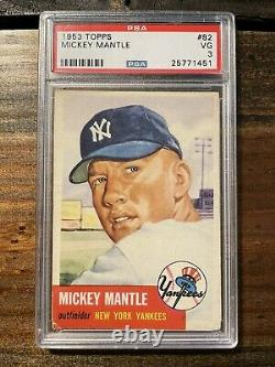 1953 Topps Mickey Mantle #82 PSA 3 New York Yankees GREAT COLOR
