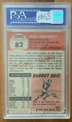 1953 Topps Mickey Mantle #82 PSA EX 5