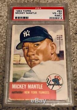 1953 Topps Mickey Mantle #82 Psa 4 (mc) Vg-ex+, With Free Shipping