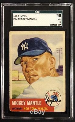 1953 Topps Mickey Mantle #82 Sgc 40 (3) Centered