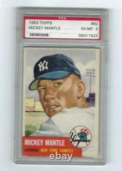 1953 Topps Mickey Mantle Baseball Card # 82 PSA 6 EX MINT L@@K