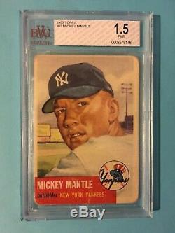 1953 Topps Mickey Mantle Bvg 1.5 New York Yankees