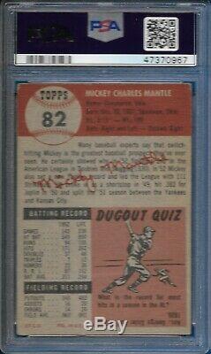 1953 Topps Mickey Mantle Card SP Short Print #82 New York Yankees CENTERED PSA 2