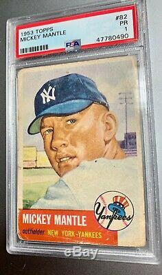 1953 Topps Mickey Mantle Psa 1 Iconic Card Displays Beautifully Well-centered