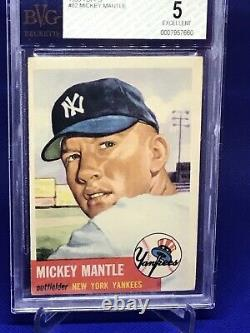 1953 Topps Mickey Mantle SHORT PRINT #82 BVG 5 EX