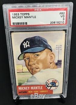 1953 Topps Mickey Mantle SHORT PRINT #82 PSA 3 VG Good Centering