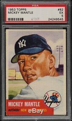 1953 Topps Mickey Mantle SHORT PRINT #82 PSA 5 EX PMJS