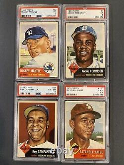 1953 Topps PSA Mickey Mantle, Jackie Robinson, Roy Campanella, Satchel Paige