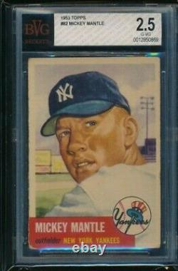 1953 Topps baseball #82 Mickey Mantle BVG 2.5 strong eye appeal Beckett swsw6