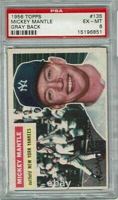 1956 Topps #135 MICKEY MANTLE Psa 6 Ex-Mt Yankees