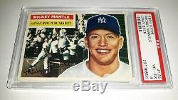 1956 Topps #135 Mickey Mantle Gray Back Card Graded PSA 4 VG EX Set Break