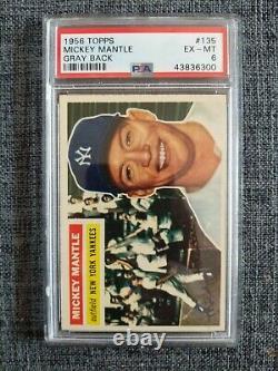 1956 Topps #135 Mickey Mantle Gray Back PSA 6 HOF Yankees Centered