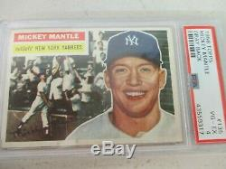 1956 Topps #135 Mickey Mantle, Gray Back Psa 4 Vg-ex