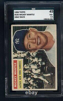 1956 Topps #135 Mickey Mantle Gray Back SGC 3.5