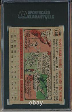 1956 Topps #135 Mickey Mantle, Gray Back Sgc 3 Vg (svsc) Centered