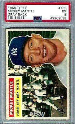 1956 Topps # 135 Mickey Mantle HOF Yankees Gray Back EX PSA 5 @