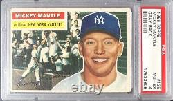 1956 Topps #135 Mickey Mantle Hof Psa 4 Vg-ex Ny Yankees Gray Back