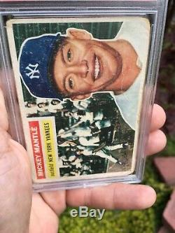 1956 Topps 135 Mickey Mantle PSA 1 Triple Crown Year Commerce Comet 7 Times WSC