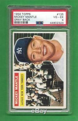 1956 Topps #135 Mickey Mantle PSA VG-EX 4 New York Yankees baseball card