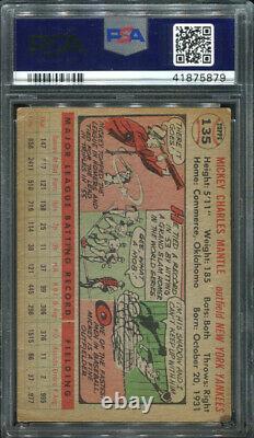 1956 Topps #135 Mickey Mantle Psa 3 (5879) White Back
