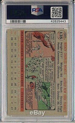 1956 Topps #135 Mickey Mantle Psa 4 Vg-ex (svsc)