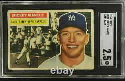 1956 Topps #135 Mickey Mantle Sgc 2.5 Baseball Card Sharp