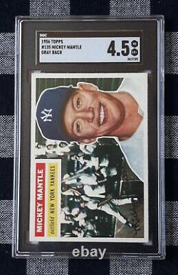 1956 Topps #135 Mickey Mantle Sgc 4.5 (vg-ex+) Centered! No Creases. Psa