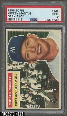 1956 Topps #135 Mickey Mantle Yankees HOF Gray Back PSA 9 MINT PACK FRESH