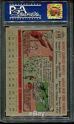 1956 Topps #135 Mickey Mantle Yankees Hof Gray Back Centered Psa 7 B2679302-195