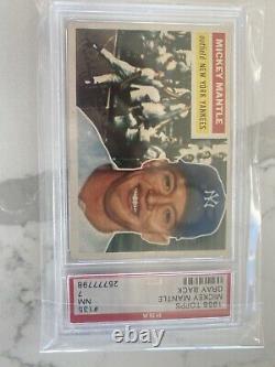 1956 Topps #135 Mickey Mantle Yankees Hof Gray Back Psa 7 Psa 8