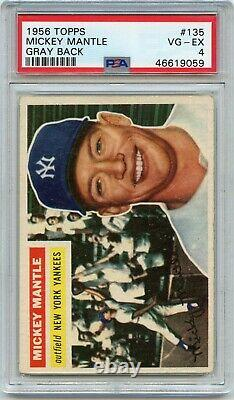 1956 Topps Baseball #135 Mickey Mantle Gray Back, New York Yankees, Hof, Psa 4