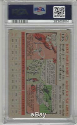 1956 Topps Baseball #135 Mickey Mantle PSA 4 graded card Yankees