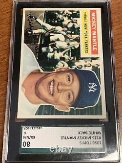 1956 Topps Baseball #135 Mickey Mantle White Back New York Yankees SGC 6